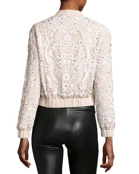 Image 2 of 3: Prairie Embroidered Bomber Jacket, Pink