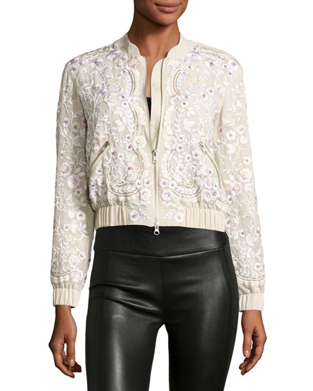 Image 3 of 3: Prairie Embroidered Bomber Jacket, Pink