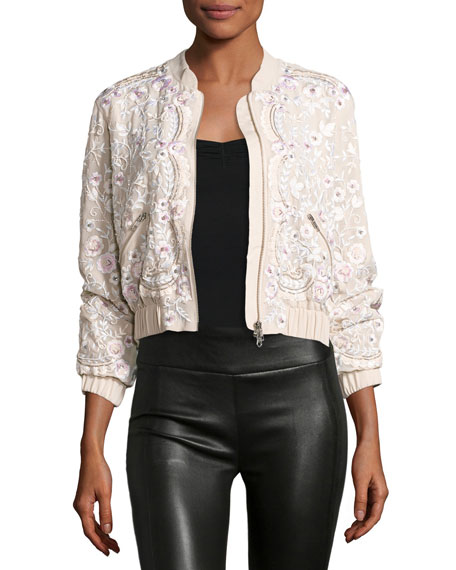 Image 1 of 3: Prairie Embroidered Bomber Jacket, Pink