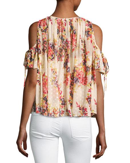Prairie Rose Cold-Shoulder Chiffon Top, Pink