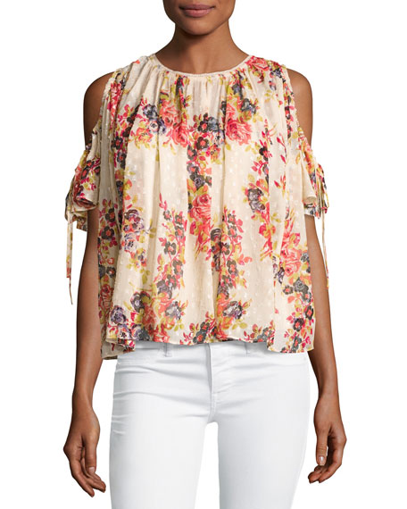 Needle & Thread Prairie Rose Cold-Shoulder Chiffon Top,