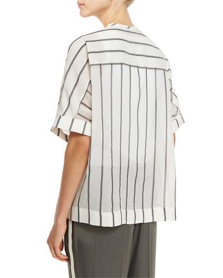 Striped Ruched-Waist Short-Sleeve Blouse, Multi