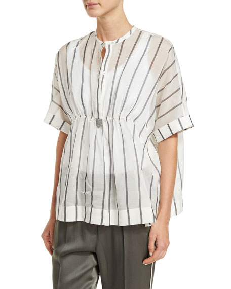 Brunello Cucinelli Striped Ruched-Waist Short-Sleeve Blouse, Multi