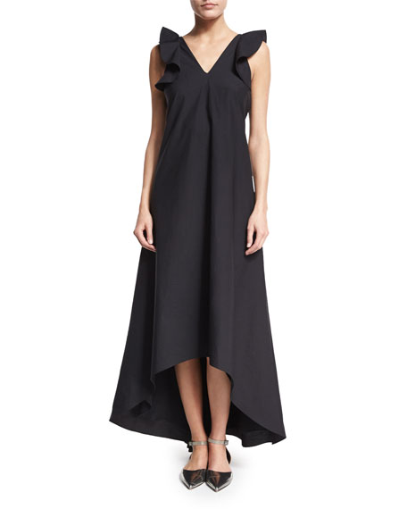Brunello Cucinelli Ruffle-Sleeve High-Low Sateen Maxi Dress,