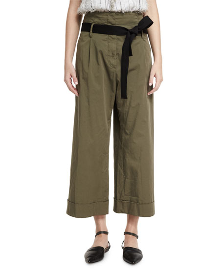 High-Waist Cropped Culottes, Olive