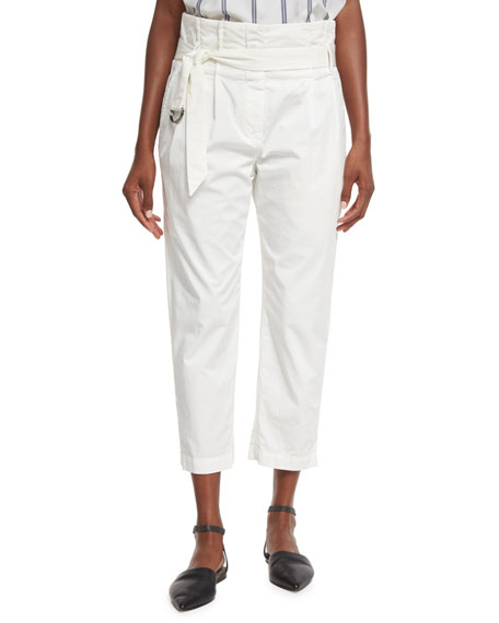 Brunello Cucinelli Belted Paperbag-Waist Ankle Pants, White
