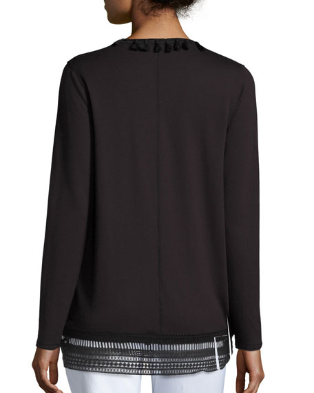 Roseanna Long Lace-Hem Open Cardigan, Black