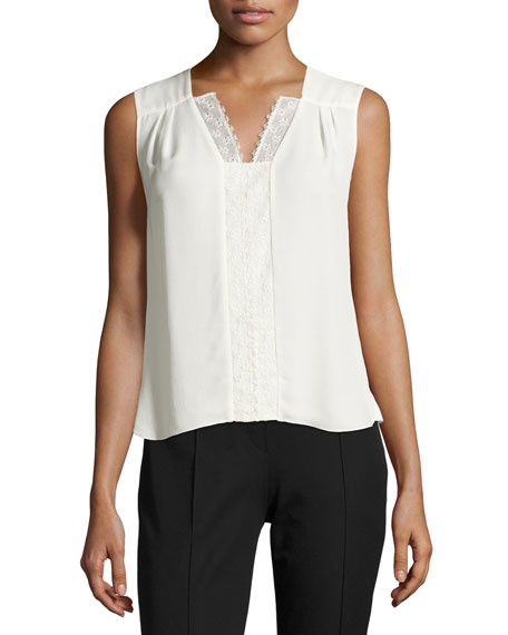 Elie Tahari Sheyda Sleeveless Lace-Trim Blouse, Antique White