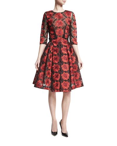 Floral 3/4-Sleeve A-Line Dress, Poppy/Black