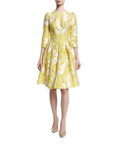 Floral 3/4-Sleeve Fit-&-Flare Dress, Lemon Daisy