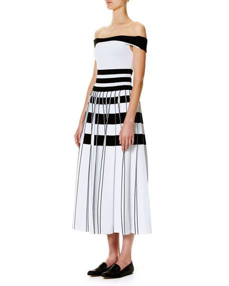 Carolina Herrera Striped Off-the-Shoulder Midi Dress, White/Black