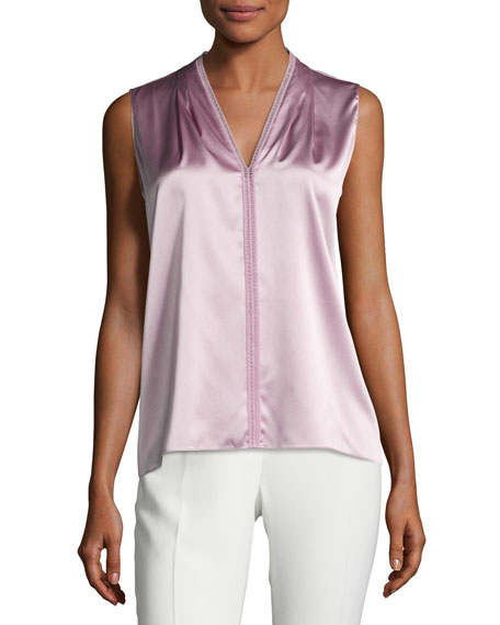 Elie Tahari Joelle Sleeveless Stretch-Silk Blouse, Winter Rose