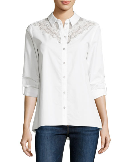 Elie Tahari Cher Crocheted-Yoke Button-Front Blouse, White