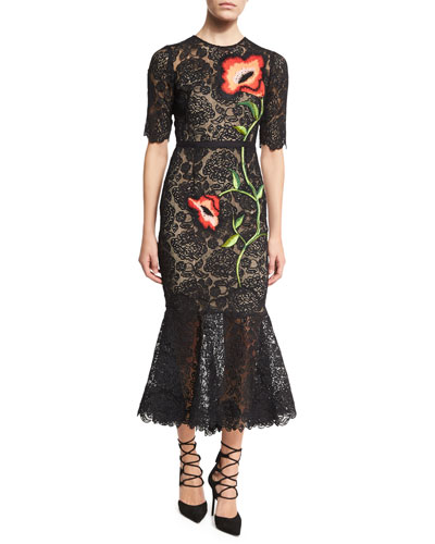 Floral-Embroidered Lace Flounce Midi Dress, Black/Multi