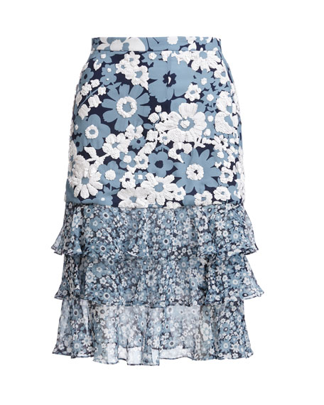 Michael Kors Collection Floral Tiered-Hem Skirt, Blue Pattern