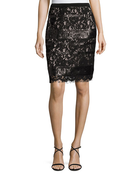 Elie Tahari Violet Sequined Lace Pencil Skirt, Black