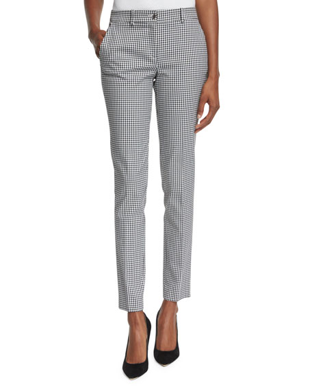 Michael Kors Samantha Gingham-Print Skinny Pants, Black/White