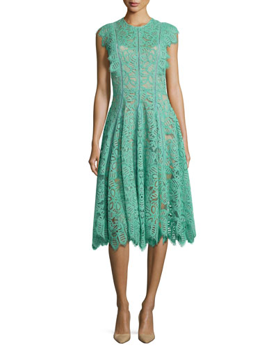 Collared Ruffled-Trim Lace Dress, Mint