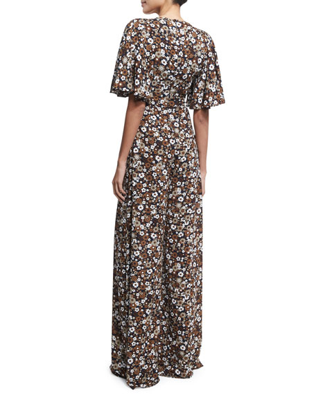 Floral Palazzo Jumpsuit, Brown Pattern