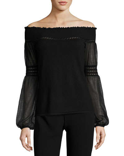 Rita Off-the-Shoulder Merino Sweater, Black