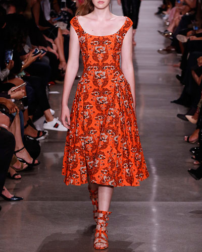 Floral Jacquard Sleeveless Midi Dress, Orange Pattern