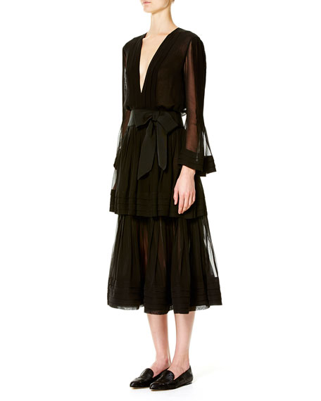 Deep-V Long-Sleeve Silk Dress, Black
