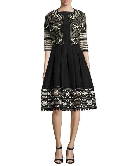 Ribbon-Embroidered Sleeveless Boat-Neck Dress, Black/Ivory