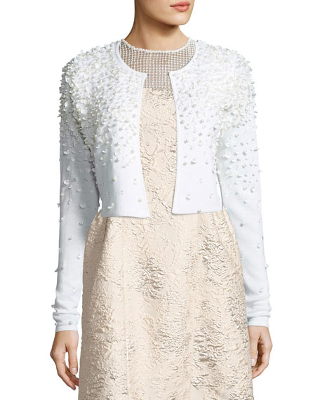 Gisele Embellished Cropped Merino Sweater, Antique White