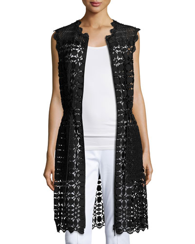 Jordan Long Lace Vest, Black
