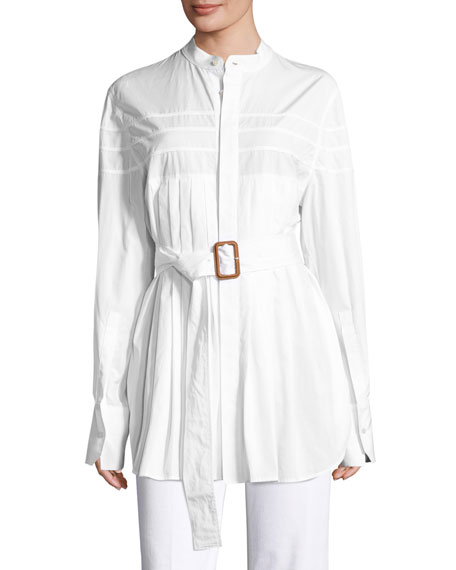 Calvin Klein Collection Kaimee Pleated Belted Blouse, White