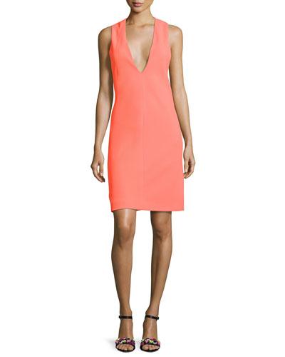 Deep-Armhole V-Neck Shift Dress, Bright Orange