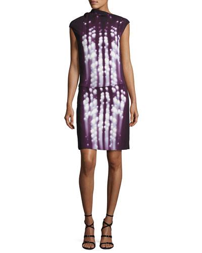 Dot-Print Sleeveless Drape-Neck Dress, Plum