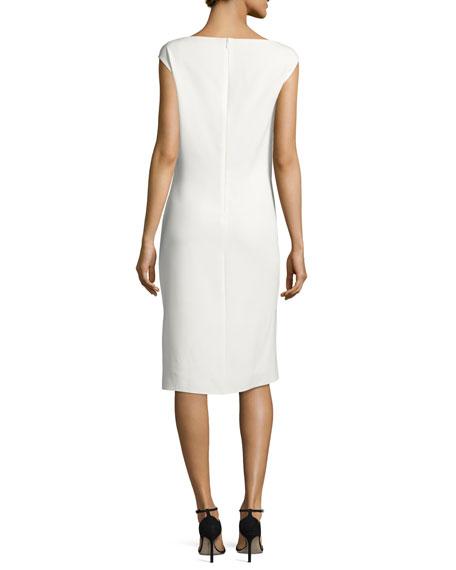 Dot-Print Cap-Sleeve Boat-Neck Dress, White/Black