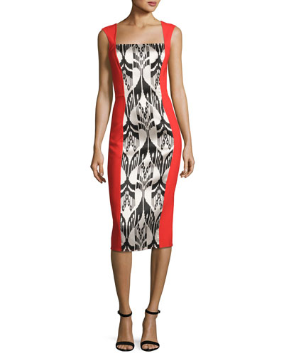 Ikat Jacquard Sleeveless Dress, Cayenne/Black
