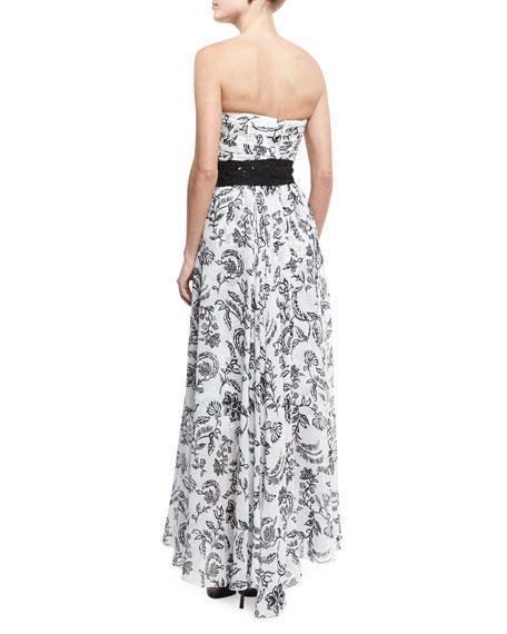 Floral Strapless Asymmetric Gown, White/Black