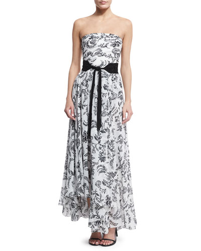 Floral Strapless Asymmetric Gown, White/Black