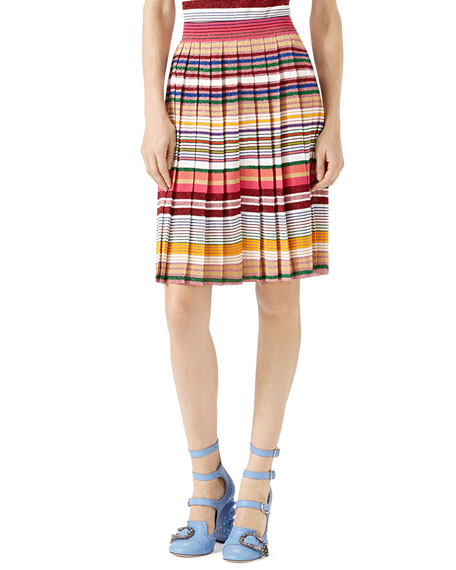 Lurex® Striped Skirt, White/Multi