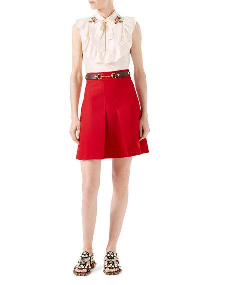 Wool Silk Skirt, Hibiscus Red