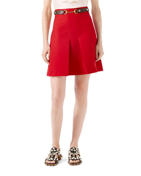 Gucci Wool Silk Skirt, Hibiscus Red