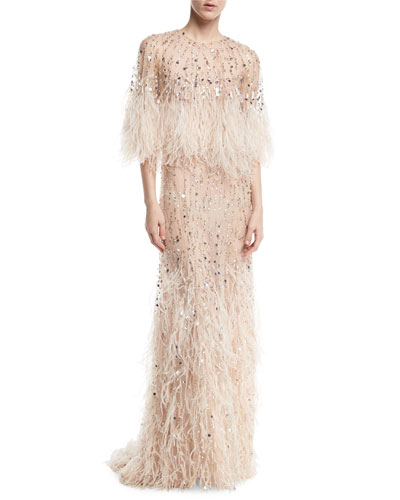 Beaded Ostrich Feather Gown, Blush
