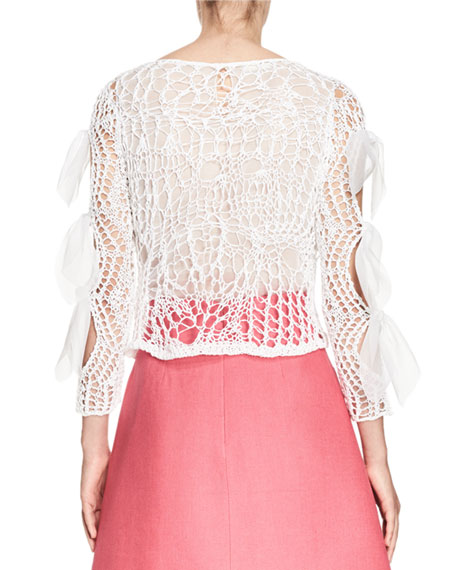 Bow-Sleeve Open-Knit Top, White Cheap