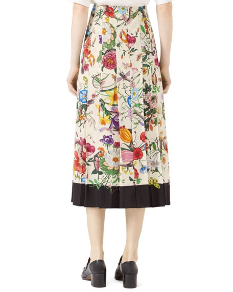 Flora Snake Silk Skirt, Black/White