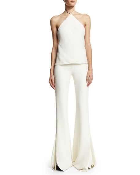 Petal Layered Bell-Bottom Pants, Ivory