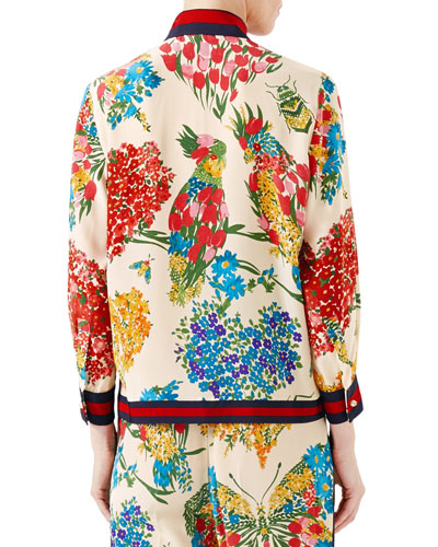 GUCCI Women'S Corsage Print Silk Brooch Shirt In Ivory