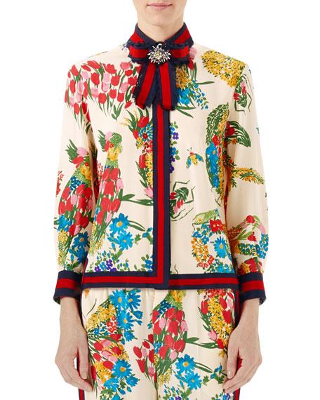 Gucci Corsage-Print Silk Shirt, Ivory