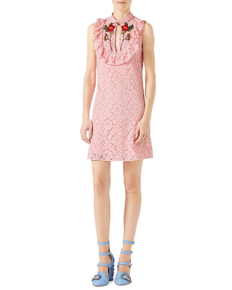 Gucci Cluny Lace Dress, Rose