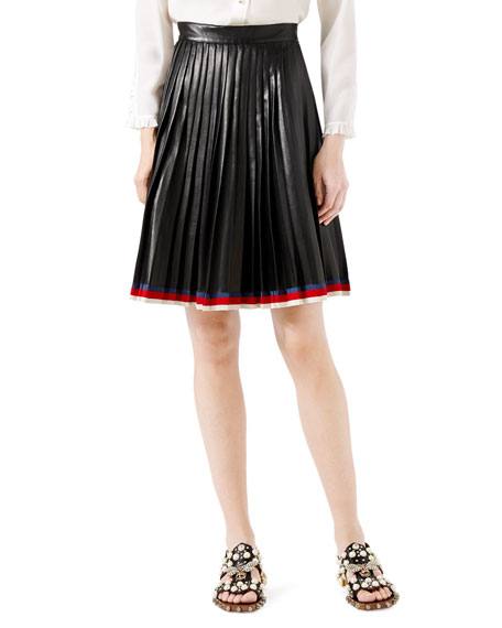 Gucci Pleated Leather Skirt, Black
