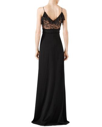 43337e938 Gucci Viscose Jersey & Lace Gown, Black | Neiman Marcus