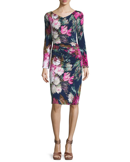 David Meister Long-Sleeve Floral Jersey Sheath Dress, Navy