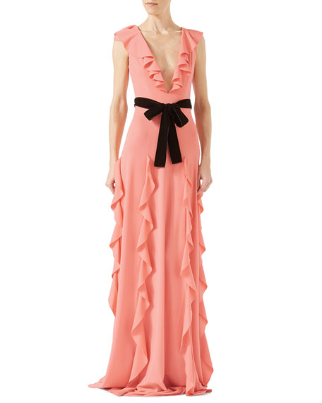 Viscose Jersey Gown with Ruffles